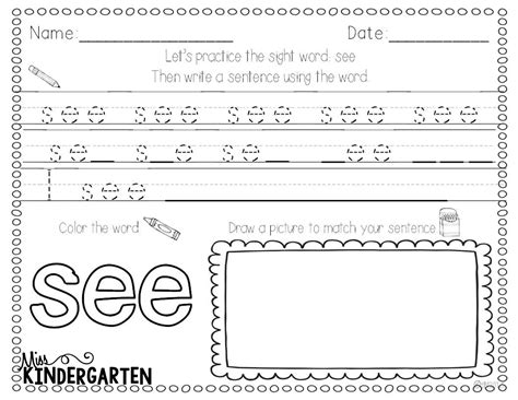 Writing Sight Words Worksheets Kindergarten by Kindergarten Sentence Writing Worksheets Shadow Writing