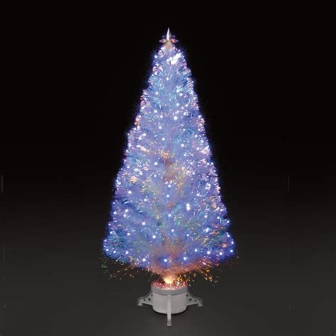 5ft polar ice white fibre optic christmas tree with