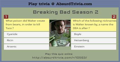 trivia 1 200 exciting trivia questions about anything volume 1 books trivia quiz breaking bad season 2