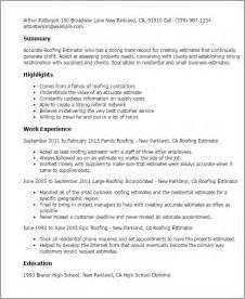 Cost Estimator Sle Resume by Professional Roofing Estimator Templates To Showcase Your Talent Myperfectresume