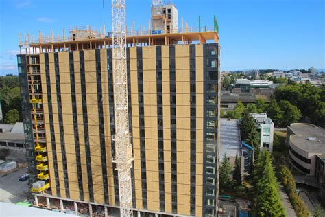 brock commons the world s tallest timber building in the world was topped in