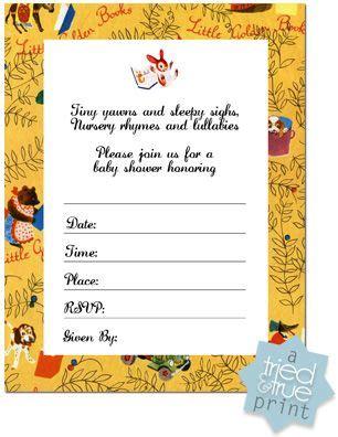 Little Golden Books Shower Invite Template Baby Shower Ideas Pinterest Book Shower Shower Book Invitations Template