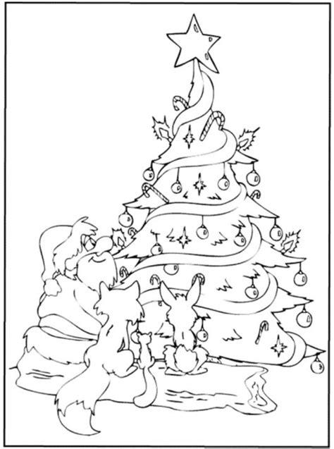 Santa And Animals Under Christmas Tree Christmas Coloring Santa Tree Coloring Page