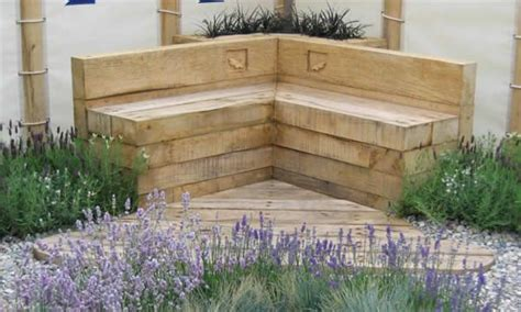 Sleeper Flower Beds by Bench Made Of Stagged Up Timber Sleepers Garden