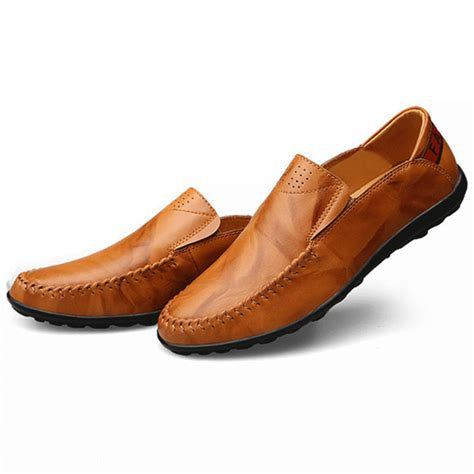 big size genuine leather comfortable slip on business