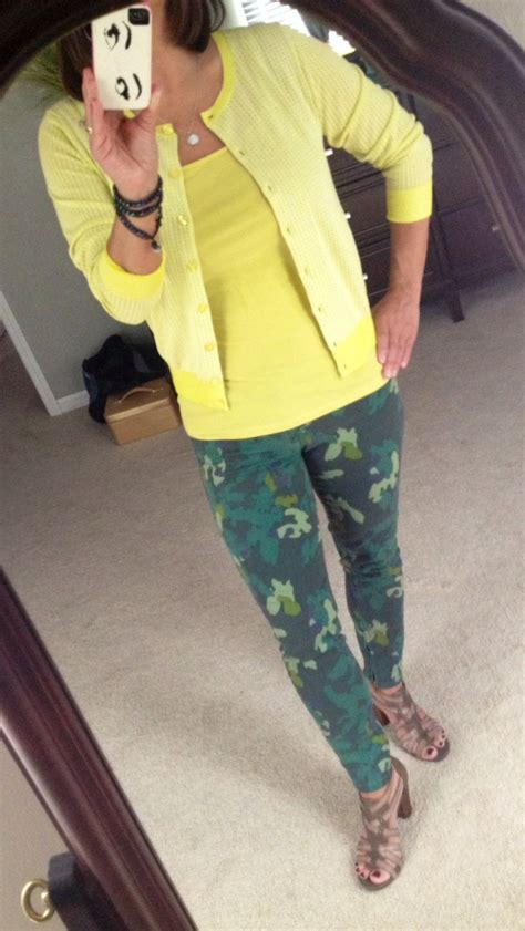 limited additions cabi cabi clover camo jeggings with daffodil cardi and cami
