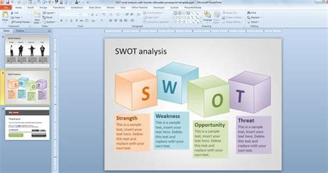powerpoint swot analysis template free free swot powerpoint template with human silhouette free