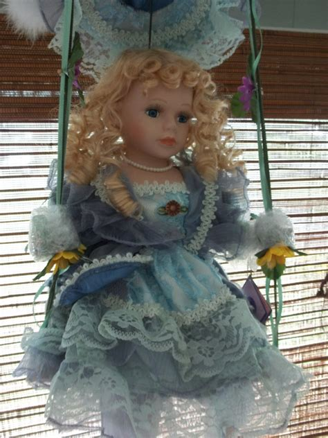 swing dolls porcelain doll on swing girl s room decor sunflowers
