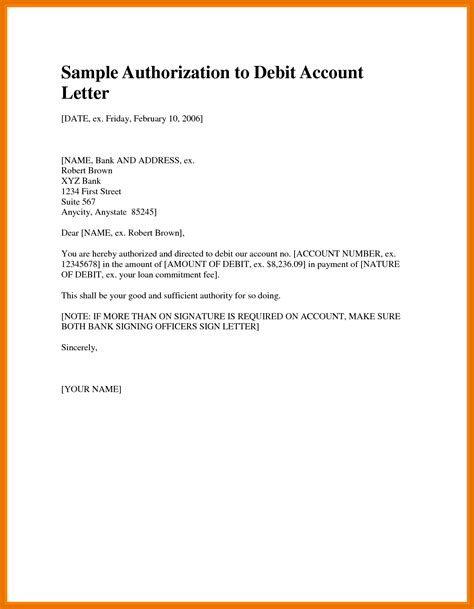 Mortgage Letter Of Authority authorization letter for bank loan closure cover letter templates