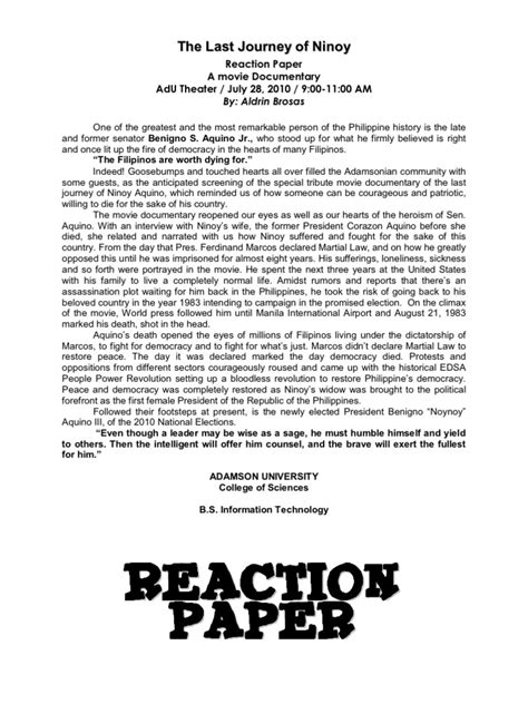 A Reaction Paper - the last journey of ninoy reaction paper