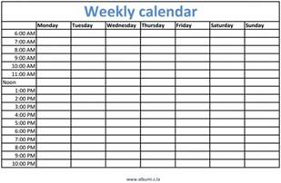 calendar with times printable calendar template 2017
