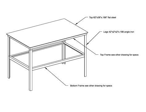 welding table plans 3x5 standard wing steel works