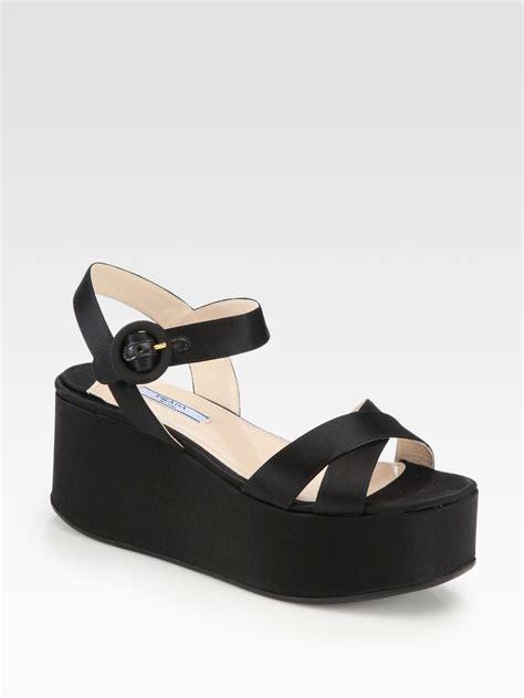 black prada sandals prada satin platform wedge sandals in black nero black