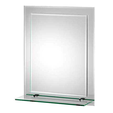 bathroom mirror with glass shelf croydex 16 in x 20 in rydal beveled edge double layer
