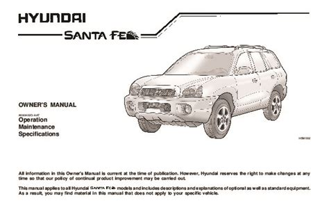 old car repair manuals 2003 hyundai santa fe auto manual 2003 hyundai santa fe owners manual