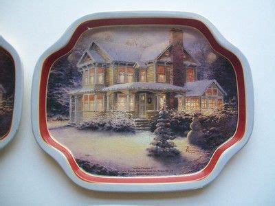 thomas kinkade illuminated tree skirt kinkade house dishes dessert metal set of 4 ebay ebay