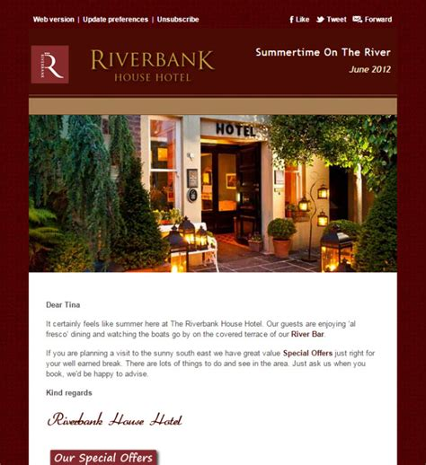 hotel newsletter layout riverbank house hotel