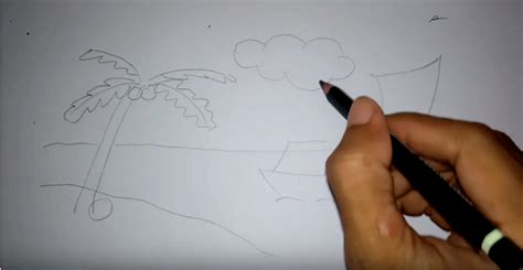 tutorial menggambar pantai menggambar pemandangan pantai untuk pemula menggambar unik