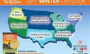 us forecast map farmer s almanac 2016 2017 winter weather prediction