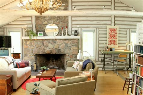 Whitewash Log Cabin Interior by Log Cabin Decorating Ideas Rustic With Club Glass