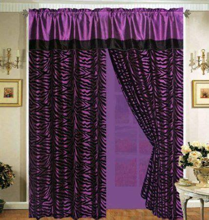 faux silk purple curtains com 4 pieces faux silk purple with black zebra