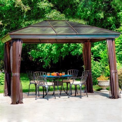 gazebo penguins shop gazebo penguin brown aluminum square screened gazebo