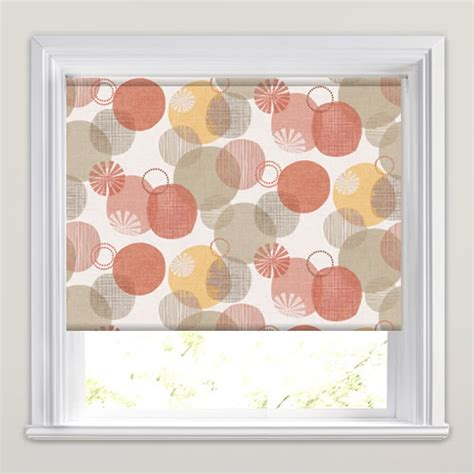 orange patterned roller blind vintage orange golden yellow taupe circle patterned