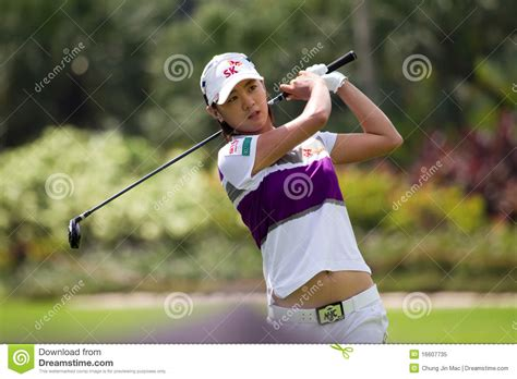 na yeon choi golf swing choi finishes her swing at lpga malaysia editorial image