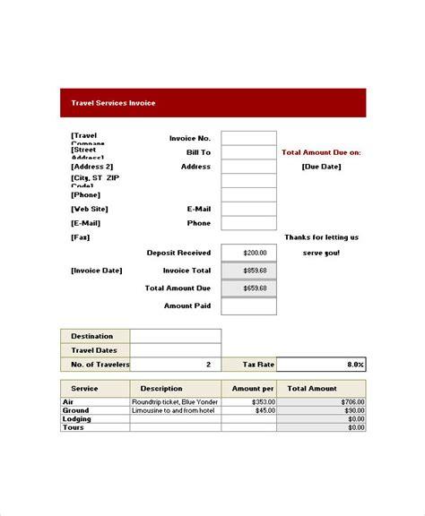 7 travel invoice exles sles
