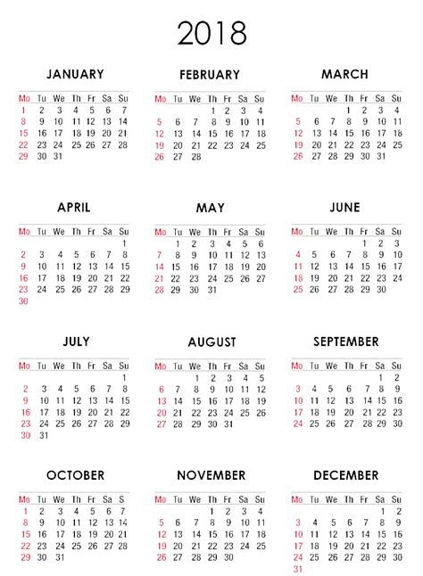 Iraq Calendã 2018 Calendar 2018 Png 28 Images Free Printable Calendar