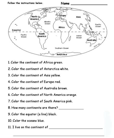 printable quiz continents and oceans geography blog geography worksheets continents and oceans