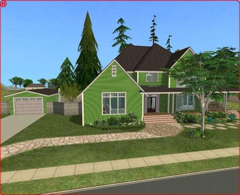 Sims 2 Houses by Mod The Sims Green Craftsman Country Style 3 Bedroom House