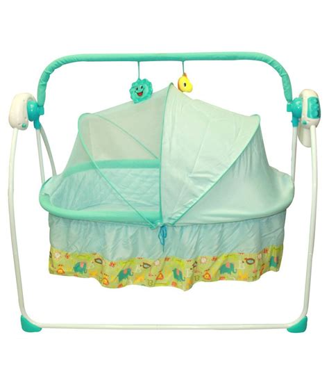 Imported Automatic Swinging Cradle With Music Blue Buy