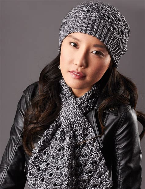 knitting pattern scarf and hat set patons silver screen hat and scarf crochet pattern
