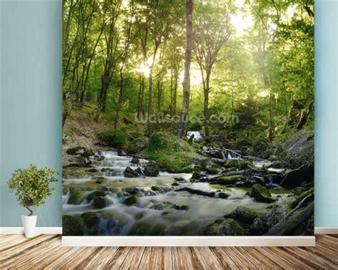 waterfall wall murals forest waterfall wallpaper wall mural wallsauce usa