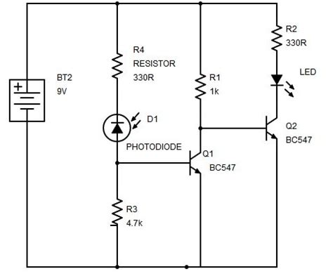 photodiode diagram sensor using transistor phototransistor and