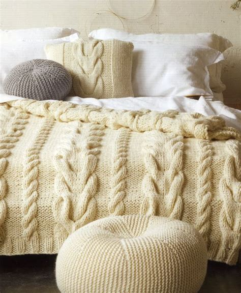 knitted bedspread cable cushion cover bedspread pouffe from the patons
