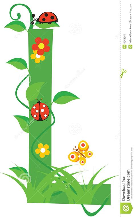 l designer letter l stock vector image of element floral spring