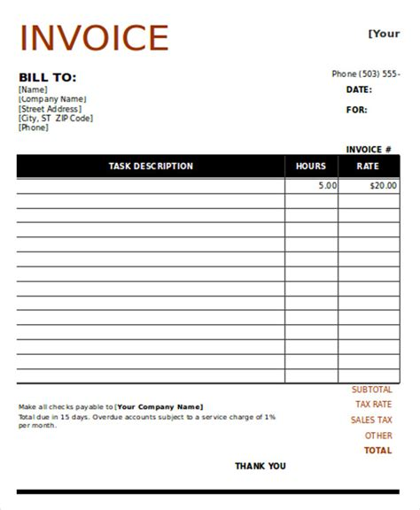 carpenter invoice template 8 carpenter invoice templates free sle exle