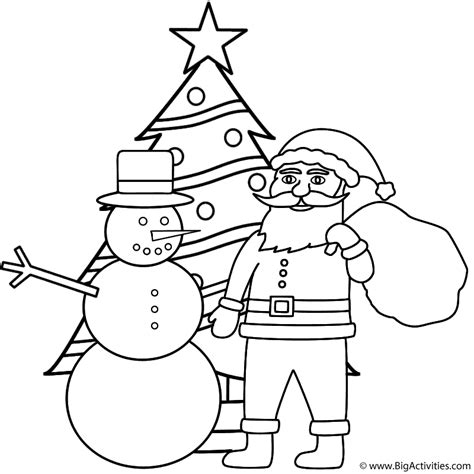santa christmas tree coloring page snowman with santa and christmas tree coloring page