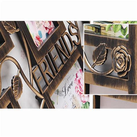 Family Square Photo Frame White Home Decoration Pigura Foto Tumpuk yazi bronze color wall hanging collage square picture frame photo display family memory home