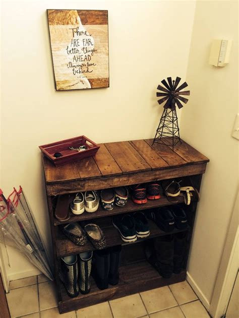 wooden pallet shoe rack ideas shoe rack out of recycled pallet wood no plans just