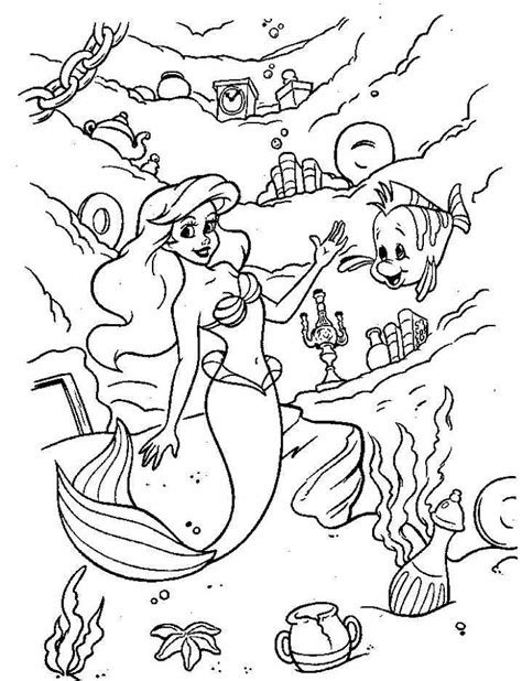 ariel and flounder coloring pages coloring home