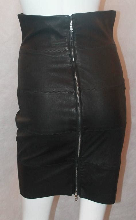 balmain black leather high waisted stretch pencil