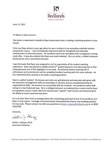 Recommendation Letter For Student In Education Writing A Letter Of Recommendation For A Graduate Student