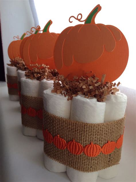 Little Pumpkin Diaper Cake Baby Shower By Mrsheckeldiapercakes Pumpkin Baby Shower Centerpieces