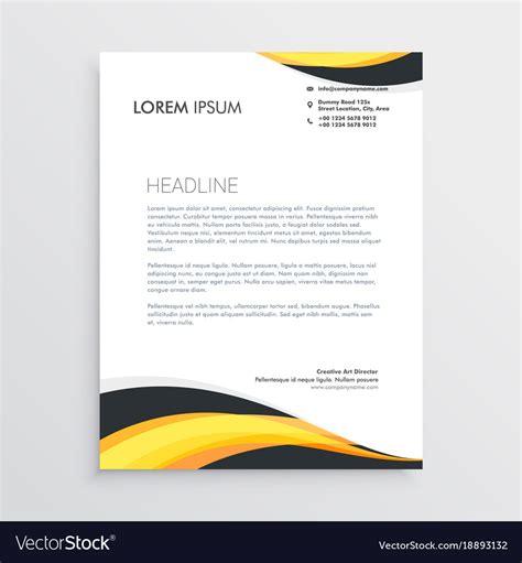 elegant yellow gray waves letterhead template vector image