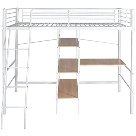 festnight metal high sleeper bed frame bunk bed with desk
