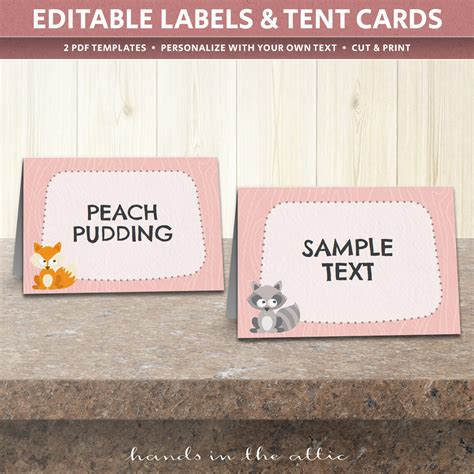 wedding tent card templates woodland animals table tent cards template table place