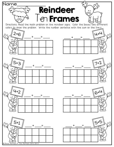 printable reindeer worksheets reindeer ten frames simple math problems with ten frames
